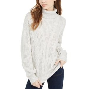 Light Grey Turtleneck Cable Knit Sweater